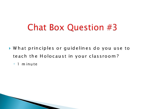 Holocaust Education Webinar Chat Box