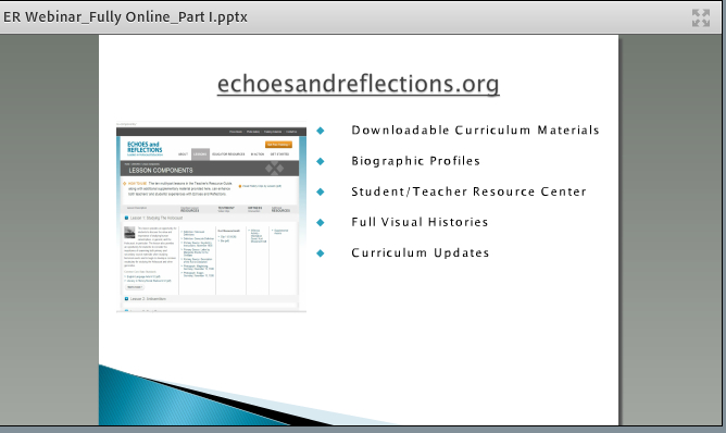 Holocaust Education Webinar - Echoes and Reflections