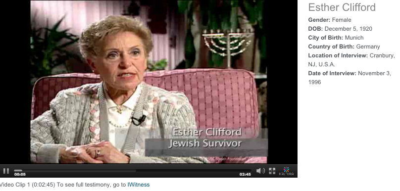 Esther Clifford Holocaust survivor delivers testimony of Kristallnacht