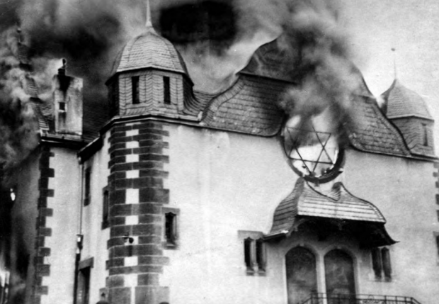 Synagogue burning in Siegen, Germany, November 10, 1938