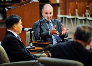 Dr. Stephen Smith at An Evening Conversation with Professors Yehuda Bauer and Xu Xin, Thursday, Nov. 7, 2013, in Los Angeles.