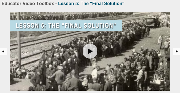 "Educator Video Toolbox helps teachers teach about the ""Final Solution"""