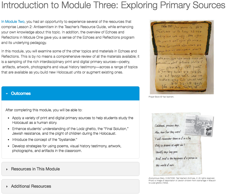 Online Professional Development in Holocaust Education introduces educators to using primary sources