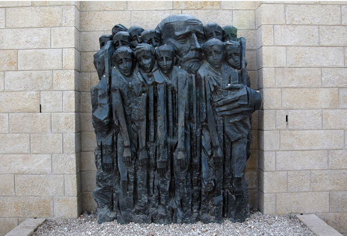 Sculptor: Boris Saktsier created this piece of Janusz Korczak at Yad Vashem