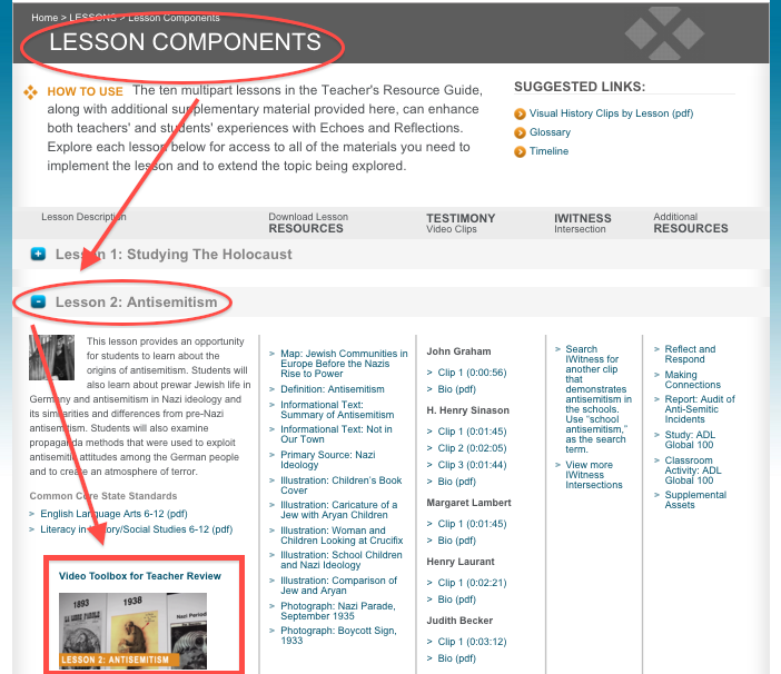 Yad Vashem Video Toolbox available on Lesson Components page
